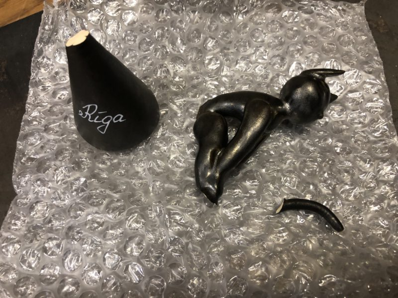 20-57 陶器 置物 割れ補修